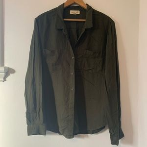 ANTHRO cloth & stone green button down blouse